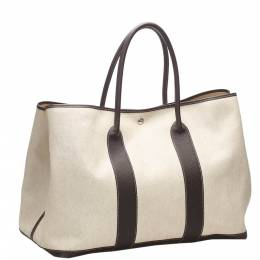 Hermes Beige Canvas Garden Party GM Tote Bag 358734