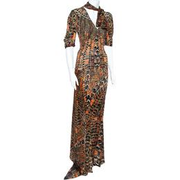 Roberto Cavalli Multicolor Print Silk Top And Skirt Set M 360441