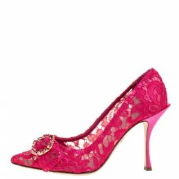 Dolce&Gabbana Pink Lace Crystal Embellished Decollete Pointed Toe Pumps Size 37 355664