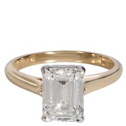 Tiffany & Co. Emerald Diamond Solitaire 18K Gold/Platinum Ring Size EU 52 357116