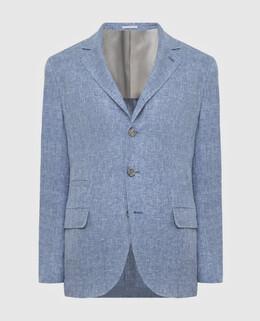 Голубой блейзер из льна, шерсти и шелка Brunello Cucinelli 2300006444661