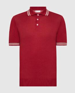 Красное поло из льна Brunello Cucinelli 2300006458125