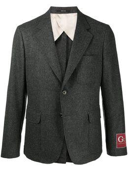 Gucci пиджак с нашивкой-логотипом 639029ZAFTB