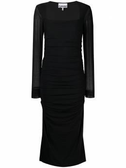 Ganni платье миди с квадратным вырезом и сборками T2746