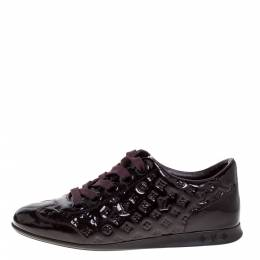 Louis Vuitton Burgundy Monogram Patent Leather Low Top Sneakers Size 35.5 362387
