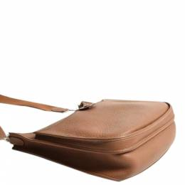 Hermes Brown Clemence Leather Evelyne III GM Bag 360135
