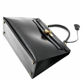 Hermes Black Box Leather Kelly 32 Bag 360137