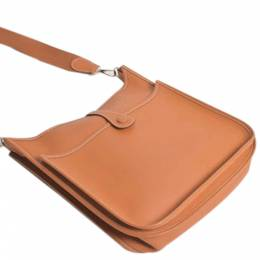 Hermes Brown Epsom Leather Evelyne II PM Bag 360133