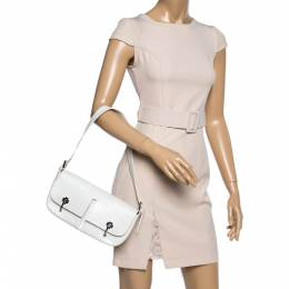 Bally White Textured Leather Double Pocket Flap Shoulder Bag 362093