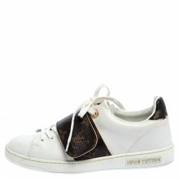Louis Vuitton White Leather And Monogram Canvas Frontrow Low Top Sneakers Size 36 360745