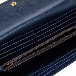 Carolina Herrera Blue Monogram Leather Continental Wallet 362244