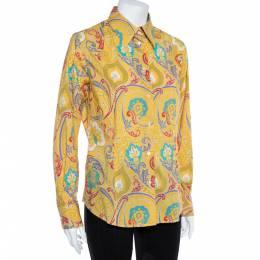 Etro Yellow Paisley Print Stretch Cotton Shirt L 362061
