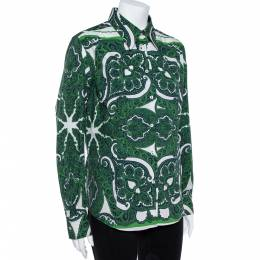 Etro Green Stretch Cotton Paisley Print Button front Shirt XL 362069