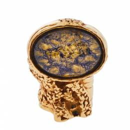 Yves Saint Laurent Arty Glass Cabochon Gold Tone Cocktail Ring Size 54 361378