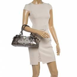 Versace Metallic Grey Jacquard Fabric and Leather Medusa Bag 362471