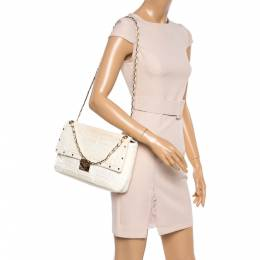 Gianni Versace White Quilted Patent Leather Flap Shoulder Bag 361968