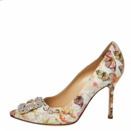 Manolo Blahnik Multicolor Butterfly Print Fabric Hangisi Pointed Toe Pumps Size 38.5 362266