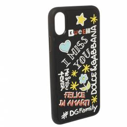 Dolce&Gabbana Black Rubber Abstract Appliques iPhone X Case 362264