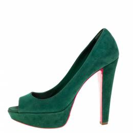 Miu Miu Green Suede Peep Toe Platform Pumps Size 39 361832