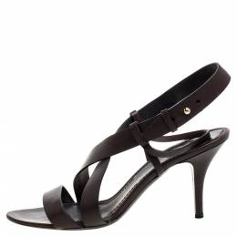 Givenchy Dark Brown Leather Ankle Strap Sandals Size 39 361772