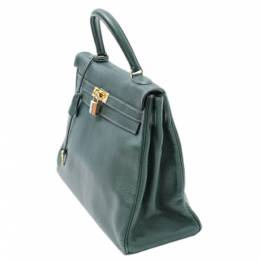 Hermes Green Clemence Leather Kelly 35 Bag 360176