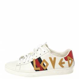 Gucci White Leather Loved Embroidered Ace Sneakers Size 37.5 362529