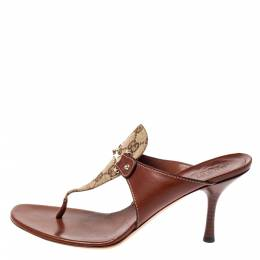 Gucci Brown Leather and GG Canvas Slide Sandals Size 38 361783