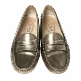 Tod's Metallic Olive Patent Leather Penny Slip On Loafers Size 38 362535