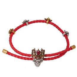 Alexander McQueen Crowned Skull Motif Crystal Two Tone Leather Bracelet 362165