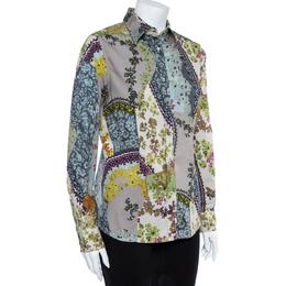 Etro Multicolor Floral Print Stretch Cotton Shirt L 362010