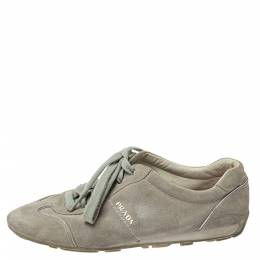 Prada Sports Grey Suede Low Top Sneakers Size 38 361856