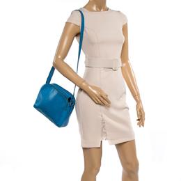 Aigner Sky Blue Ostrich Embossed Leather Double Zip Shoulder Bag 362312