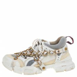 Gucci White Leather and Mesh Flashtrek Removable Crystals Sneakers Size 42 361866