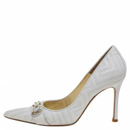 Versace White Leather Pointed Toe Pumps Size 38 361918