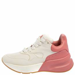 Alexander McQueen White/Pink Leather Oversized Runner Low Top Sneakers Size 39 361460