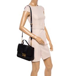 Miu Miu Black Madras Leather Push Lock Flap Top Handle Bag 362118