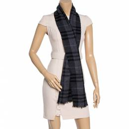 Burberry Dark Grey Checked Cashmere Scarf 361115