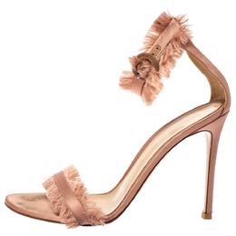 Gianvito Rossi Blush Pink Satin Fringe Trim Caribe Ankle Strap Sandals Size 39 362124
