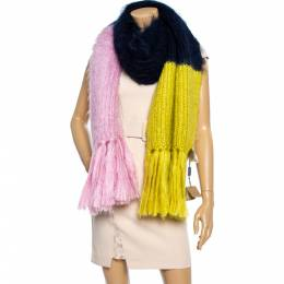 Burberry Color Block Mohair Silk Blend Scarf 360074