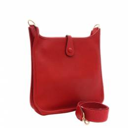 Hermes Red Leather Evelyn PM Bag 356660
