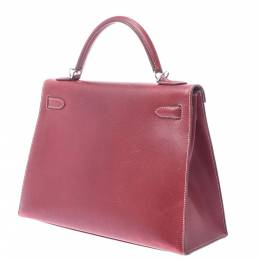 Hermes Burgundy Leather Kelly Sellier 32 Bag 357785