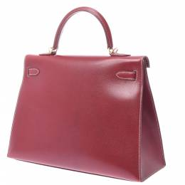 Hermes Burgundy Leather Kelly 35 bag 357851