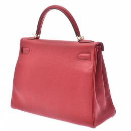 Hermes Red Clemence Leather Kelly Retourne 32 Bag 337680