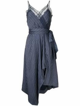 Jonathan Simkhai полосатое платье Emma асимметричного кроя 4201042T