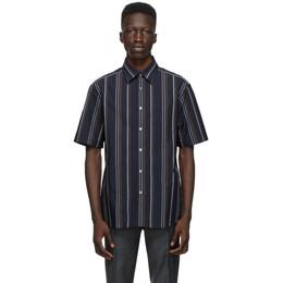 Dunhill Navy Poplin Striped Short Sleeve Shirt DU21RGLCDAY
