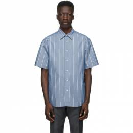 Dunhill Blue Poplin Striped Short Sleeve Shirt DU21RGLCDBK