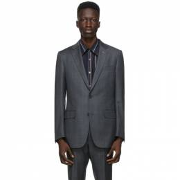 Dunhill Grey Wool Check Mayfair Blazer DU21RBMN1BT