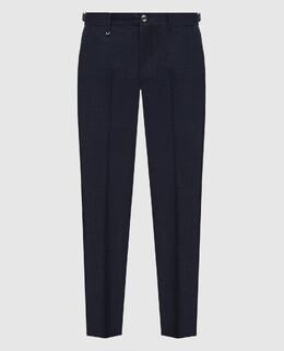 Темно-синие брюки из шерсти, шелка и льна Stefano Ricci 2300006422478