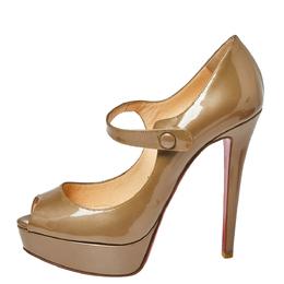 Christian Louboutin Dark Beige Patent Leather Bana Mary Jane Platform Pumps Size 38.5 360737