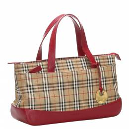 Burberry Brown/Beige Haymarket Check Canvas Bag 358882